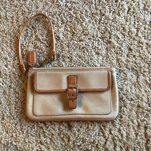 Coach cream and tan leather wristlet